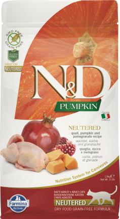 Сухой корм для кошек Farmina N&D Neutered Pumpkin, беззерновой, перепел тыква гранат, 5кг