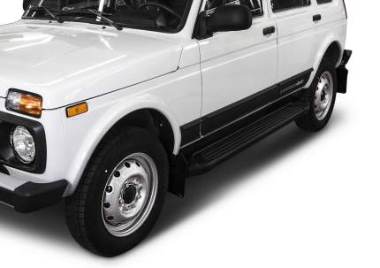 """Пороги алюминиевые """"Black"""" Rival Lada 4x4 2131 внедорожник 5-дв. 1993-, 180 см, 2 шт"""