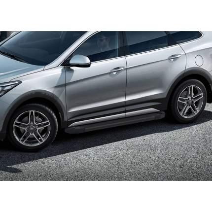 "Пороги алюминиевые ""Black"" Rival Hyundai Santa Fe III/Santa Fe Premium, 180 см, 2 шт"