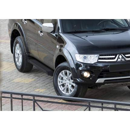 "Пороги алюминиевые ""Black"" Rival Mitsubishi Pajero Sport II, 173 см, 2 шт., F173ALB.4003.1"
