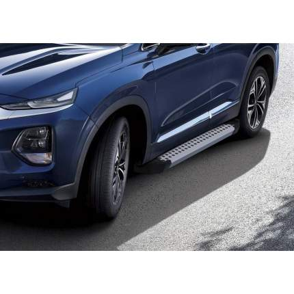 "Пороги алюминиевые ""Bmw-Style круги"" Rival Hyundai Santa Fe IV, 180 см, 2 шт"