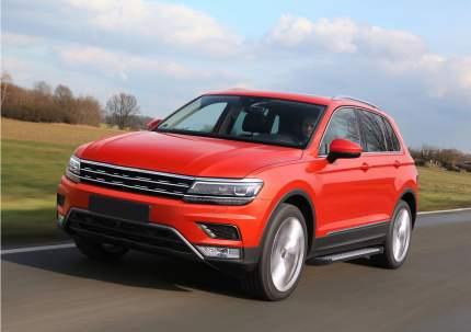 """Пороги алюминиевые """"Bmw-Style круги"""" Rival Volkswagen Tiguan II, 173 см, 2 шт"""