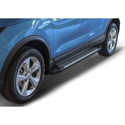 """Пороги алюминиевые """"Bmw-Style круги"""" Rival Nissan Qashqai II Renault Koleos, 173 см, 2 шт"""