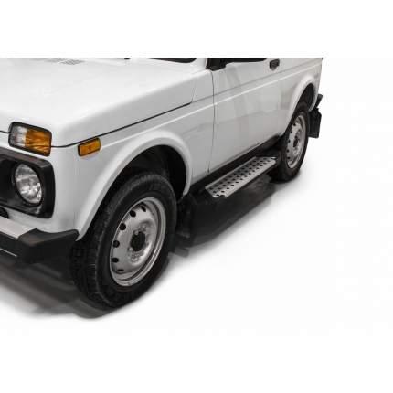 "Пороги алюминиевые ""Bmw-Style круги"" Rival Lada 4x4 2121 3-дв., 128 см, 2 шт"