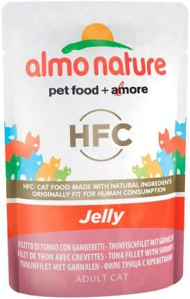Влажный корм для кошек Almo Nature Classic Jelly, с тунцом и креветками в желе 24шт по 55г