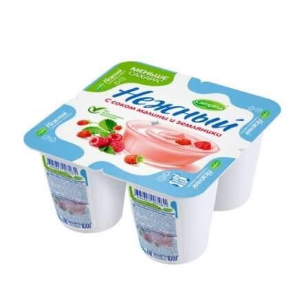 Продукт йогуртный Кампина нежный с соком малины и земляники 1.2% 100 г