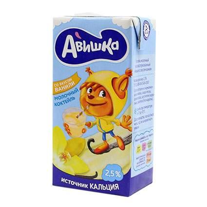 Коктейль Авишка ультрапастеризованный молочный ваниль 2.5% 0.2 л