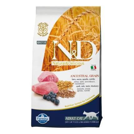 Сухой корм для кошек Farmina N&D Low Grain, низкозерновой, ягненок с черникой, 5кг