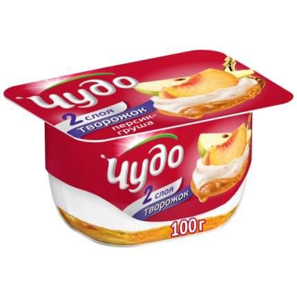 Десерт молочный чудо творожок бзмж персик/груша жир. 4.2 % 100 г пл/ст вбд россия