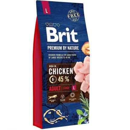 Сухой корм для собак Brit Premium By Nature Adult L, для крупных пород, курица, 15кг
