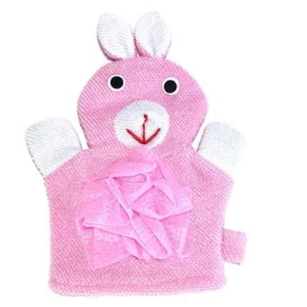 Детская мочалка-варежка в виде зверюшки Comfortable BathLife цв.розовый