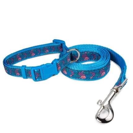 Комплект для животных (ошейник и поводок) Triol Ракушки, синий (250-400х15 мм; 1200х15 мм)