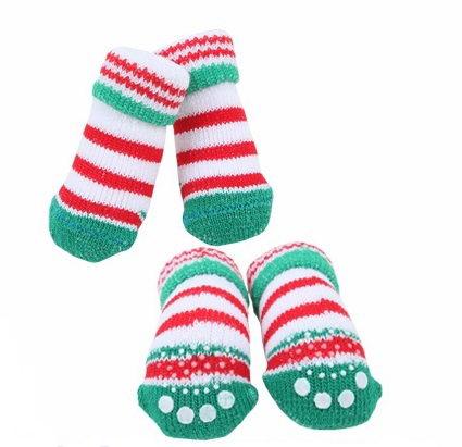 Носочки для собак Puppia CRINCH в полоску, зеленые, M