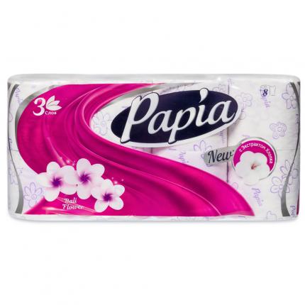 Туалетная бумага PAPIA Балийский Цветок 3 слоя 8 рулонов