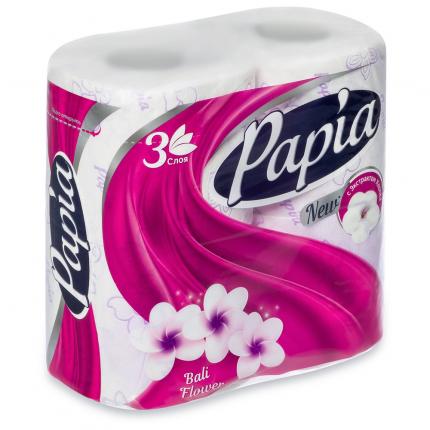 Туалетная бумага PAPIA Цветы Бали 3 слоя 4 рулона