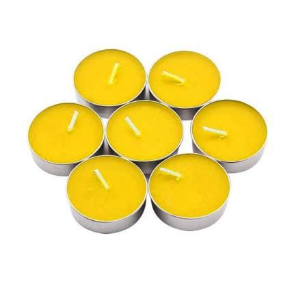 Набор чайных свечей, 50 шт, желтый, 14 гр, 3,7х1,5 см; Diligence party DP-CNDL-38