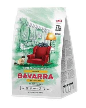 Сухой корм для кошек Savarra Food Indoor, для домашних, утка, рис 2кг