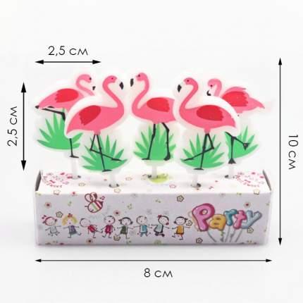 Набор свечей для торта Diligence party Розовый фламинго, 5 шт.
