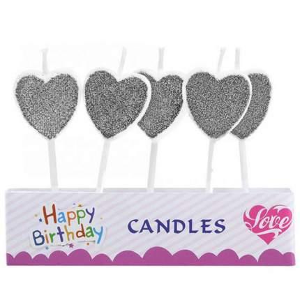 Набор свечей для торта Diligence party Сердечки, серебристый, 5 шт.