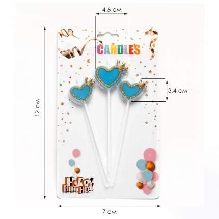 Набор свечей для торта Diligence party Сердце и корона голубой, 3 шт.
