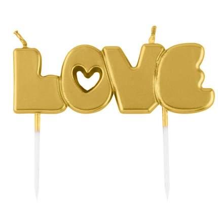 Набор свечей для торта Diligence party Love золотистый