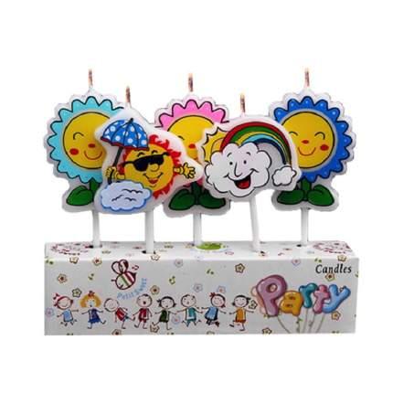 Набор свечей для торта Diligence party Солнышко и цветочки, 5 шт.