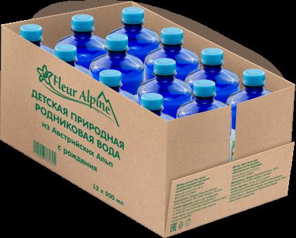 Вода детская природная родниковая, негазированная Fleur Alpine с рождения 0,5 л, 12 шт.
