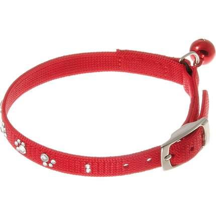 Ошейник для кошек Hello Pet со стразами в форме лапок, 10 мм (22-26 см), красный