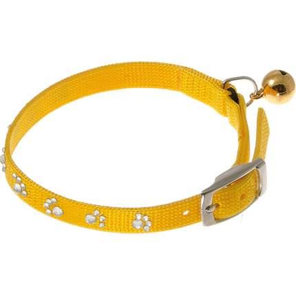 Ошейник для кошек Hello Pet со стразами в форме лапок, 10 мм (22-26 см), желтый
