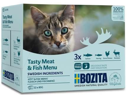 Набор паучей для кошек Bozita Tasty Meat&Fish Menu, в соусе мясной и рыбный микс, 12x85 г