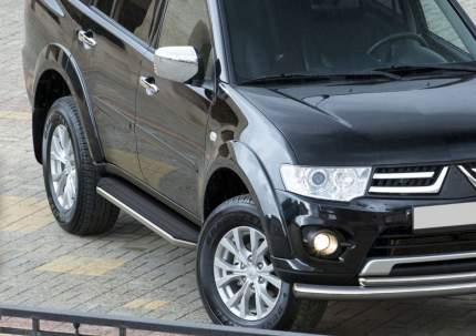 Пороги алюминиевые Premium Rival Mitsubishi Pajero Sport II 08-16, 173 см, A173ALP.4003.1