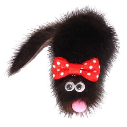 Мягкая игрушка для кошек Gosi Мышь Микки натуральный мех, черный, 7 см