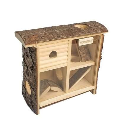 Домик - лабиринт для мелких грызунов Homepet, деревянный, 10x24x25 см