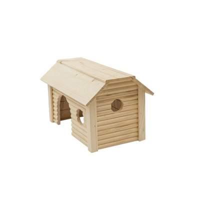 Домик для крупных грызунов Homepet Усадьба, деревянный, 19x31x18,5 см