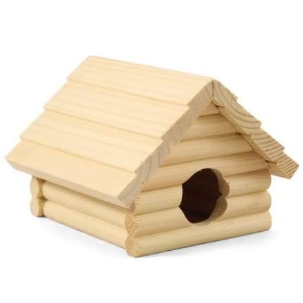 Домик для мелких грызунов Homepet, деревянный, 13x13,5x10 см