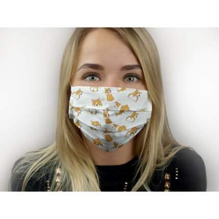Многоразовая защитная маска MARENGO TEXTILE Корги белая 1 шт.