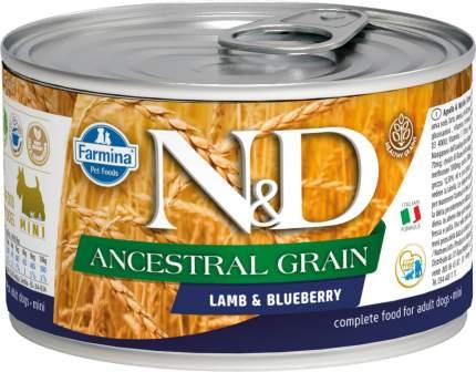 Консервы для собак Farmina N&D Ancestral Grain Adult Mini с ягненком черникой 6шт по 140г