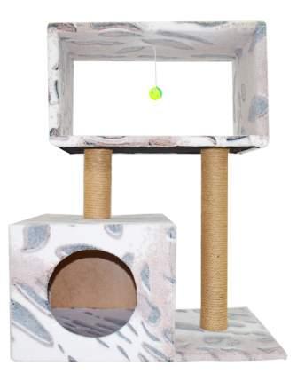 Комплекс для кошек Glory Life Столбик Куб с мезонином и игрушкой, разноцветный, 60x35x85см