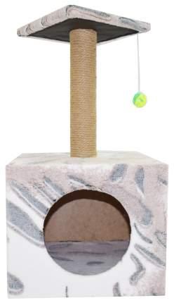 Домик для кошек Glory Life Столбик куб с площадкой и игрушкой, разноцветный, 35x30x85 см