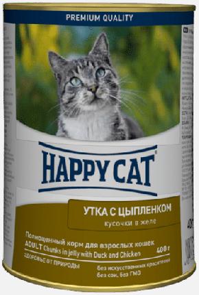 Консервы для кошек Happy Cat, с уткой и цыпленком в желе, 24шт по 400г