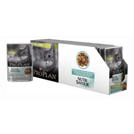Влажный корм для кошек PRO PLAN Nutri Savour Sterilised, океаническая рыба, 24шт, 85г