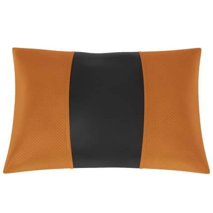 Подушка автомобильная AVTOLIDER1 Экокожа оранжевый-чёрный