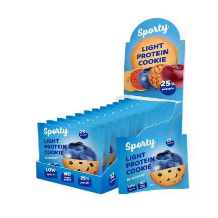 Печенье Sporty Light Protein Cookie 12 40 г, 12 шт., черника