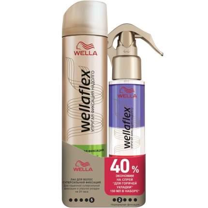 Набор Wellaflex Лак суперсильной фиксации 250 мл + Спрей для горячей укладки 150 мл
