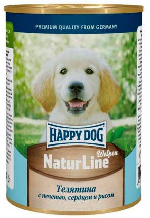 Консервы для щенков Happy Dog NaturLine, телятина, печень, сердце и рис, 20шт по 400г