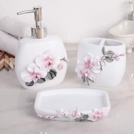 Набор аксессуаров для ванной комнаты «Орхидея», 3 предмета