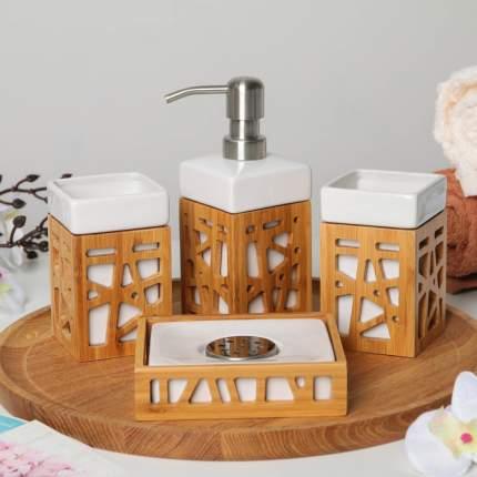 Набор аксессуаров для ванной комнаты «Дерево», 4 предмета