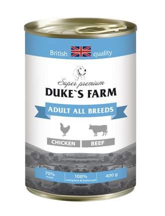 Консервы для собак DUKE'S FARM Adult, курица, говяжьи потрошка, 6шт, 400г