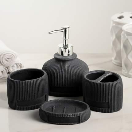 Набор аксессуаров для ванной комнаты, 4 предмета Хато, цвет чёрный