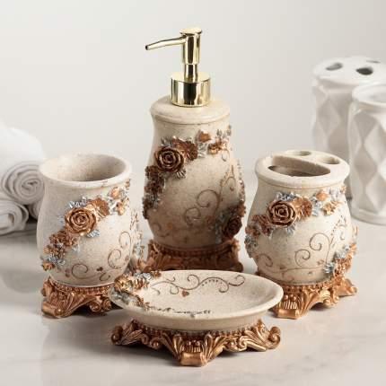 Набор аксессуаров для ванной комнаты «Узоры», 4 предмета